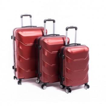Set de trois valises ABS Herwex - Rouge Bordeau