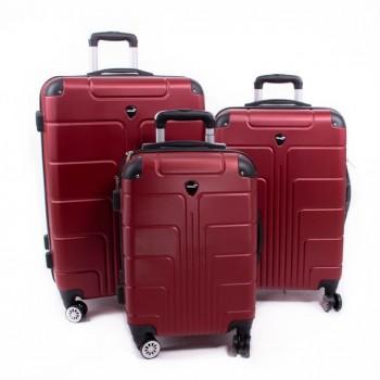 Set de trois valises ABS Herwex - rouge bordeaux