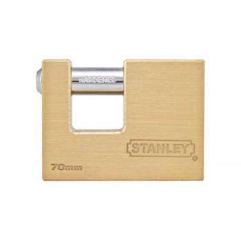 Cadenas à clé en baïonnette or Stanley - 70mm