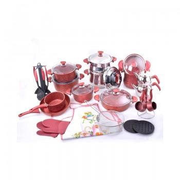 Batterie de cuisine en Granite OMS Collection - 38 pièces - Rouge - Jacaranda Tunisie