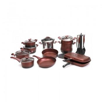 Batterie de cuisine en Granite OMS Collection - 24 pièces - Rouge Bordeaux - Jacaranda Tunisie