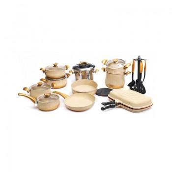 Batterie de cuisine en Granite OMS Collection - 24 pièces - Crème - Jacaranda Tunisie