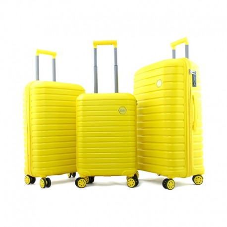 Set de 3 valises Ground en Polypropylène - Jaune - 10631-YELLOW - Jacaranda Tunisie