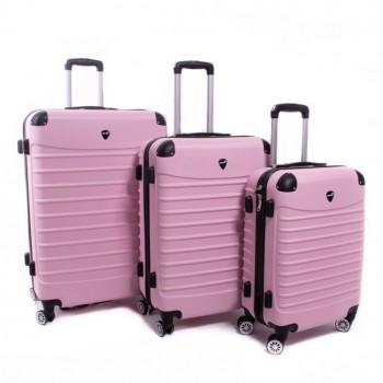 Set de trois valises ABS Herwex - Rose bébé