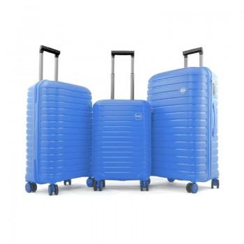 Set de 3 valises Ground en Polypropylène - Bleu - 10631-BLUE - Jacaranda Tunisie