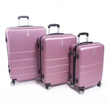 Herwex Set de trois valises Herwex ABS 090 rose bebe