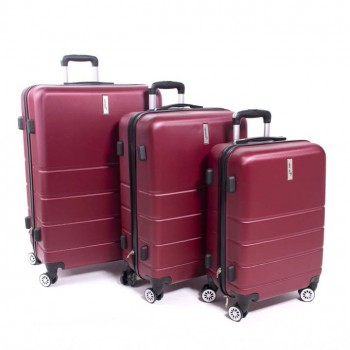 Herwex Set de trois valises Herwex ABS 090 Rouge Bordeaux