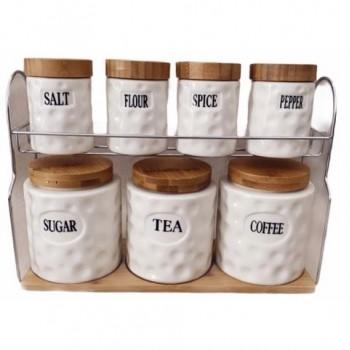 Ensemble de 7 pots à épices en céramique boîte de rangement avec support