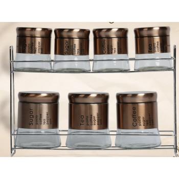 Ensemble de 8 pots à épices en inox boîte de rangement avec support