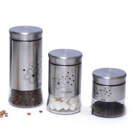 Série De 3 Pots Thé Et Sucre Et Café En Verre Argent