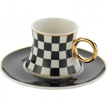 A8632 freedom noir 6 tasses et sous tasses café turc en porcelaine fine