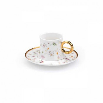A8649 gold 6 tasses et sous tasses café turc en porcelaine fine