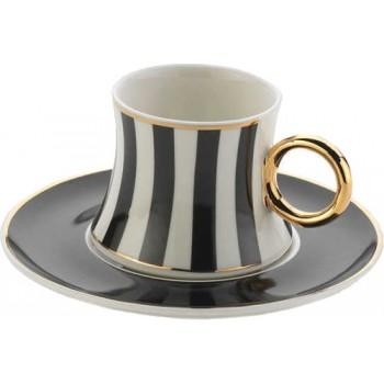 A8631 freedom noir 6 tasses et sous tasses café turc en porcelaine fine